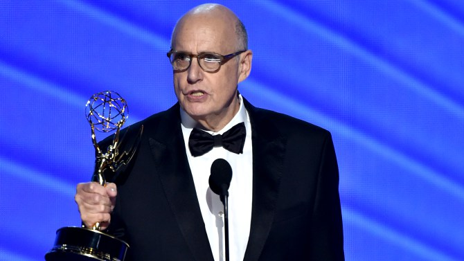 "Jeffrey Tambor accepts the award for outstanding lead actor in a comedy series for ""Transparent"" at the 68th Primetime Emmy Awards on Sunday, Sept. 18, 2016, at the Microsoft Theater in Los Angeles. (Photo by Vince Bucci/Invision for the Television Academy/AP Images)"