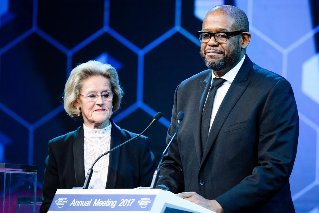 Forest Whitaker, artist, social activist, founder and chief executive of the Whitaker Peace & Development Initiative, and co-founder and chair of the International Institute for Peace and UNESCO Special Envoy for Peace and Reconciliation, receives Crystal Award for his leadership in peace-building and conflict resolution