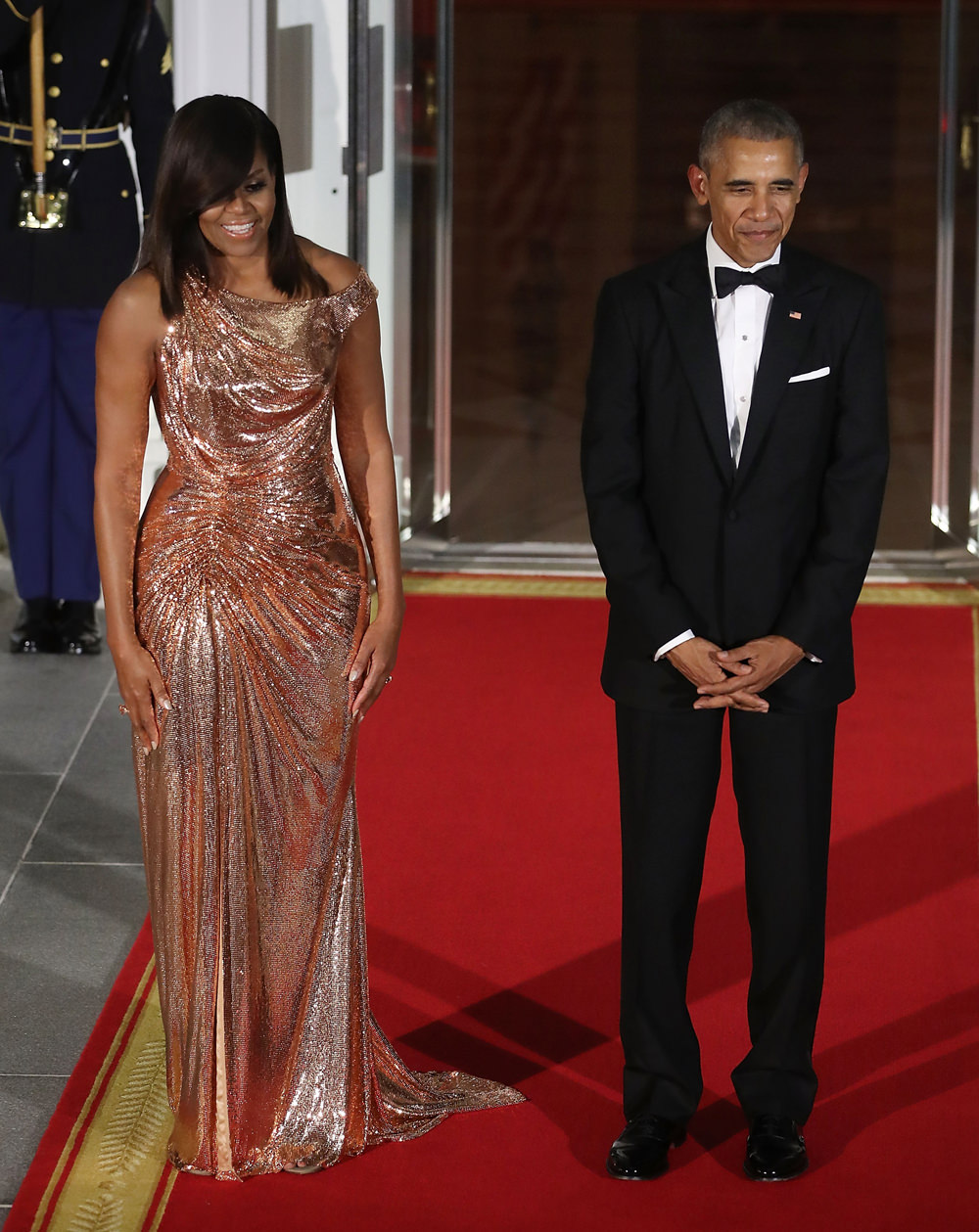Michelle Obama in Atelier Versace & President Barack Obama at the final White House State Dinner