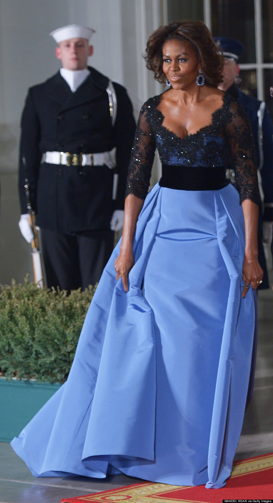 Michelle Obama in Carolina Herrera at the White House State Dinner in 2014