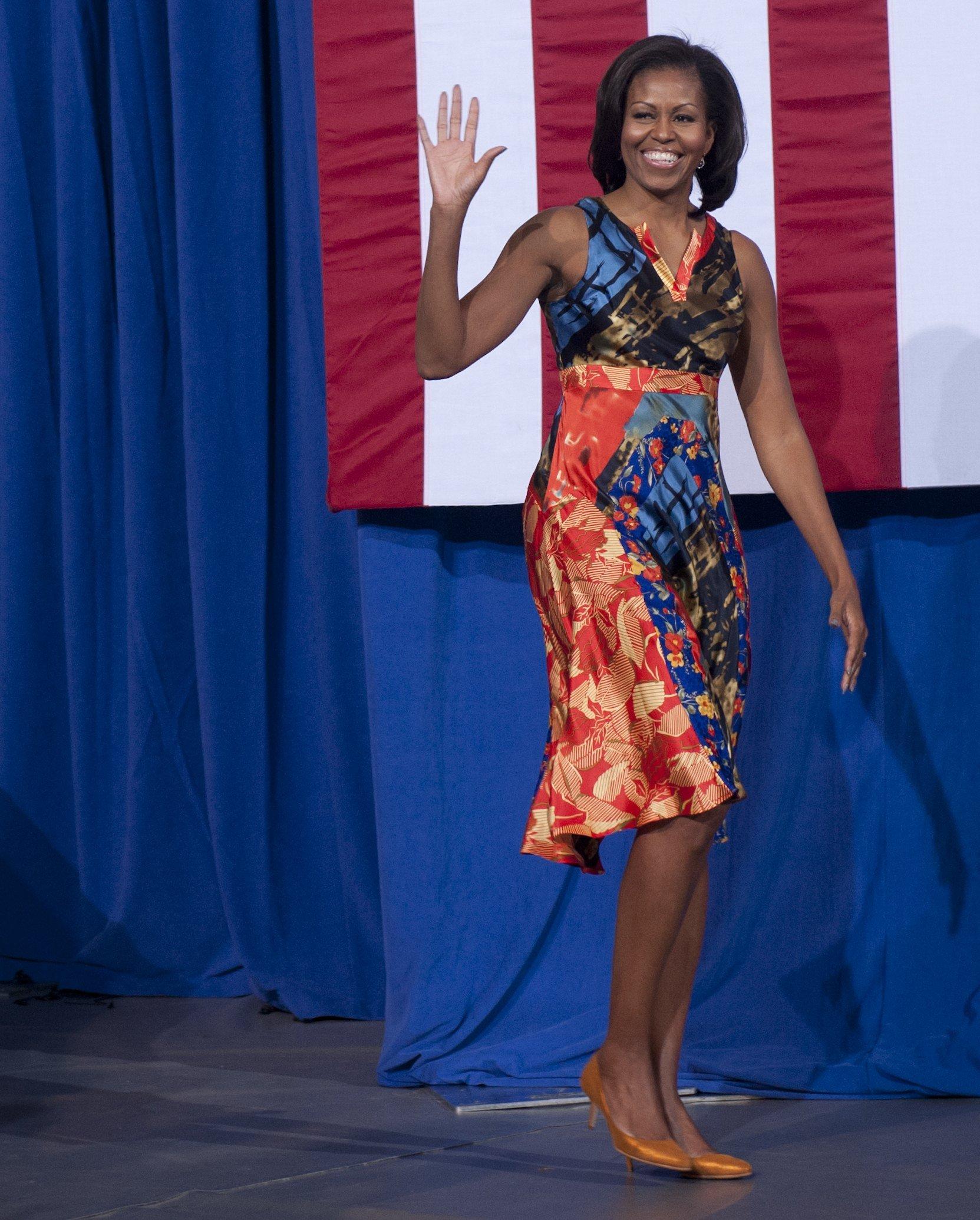 Michelle Obama in Duro Olowu at the University of Mary Washington, Virginia
