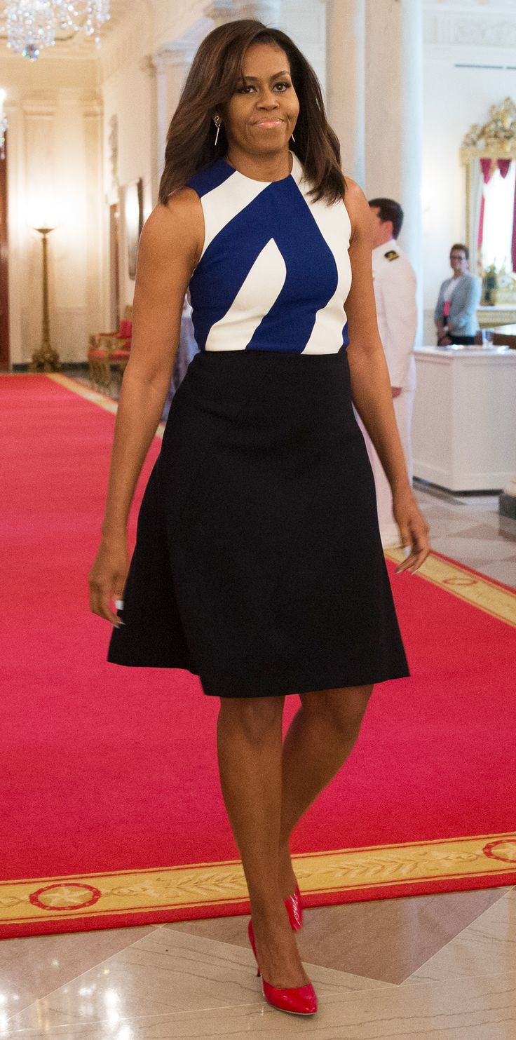 Michelle Obama in Narciso Rodriguez at the National Medal for Museum and Library Service award ceremony at the White House
