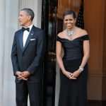 President Barack Obama & Michelle Obama in Ralph Lauren at the Winfield House in London in 2011