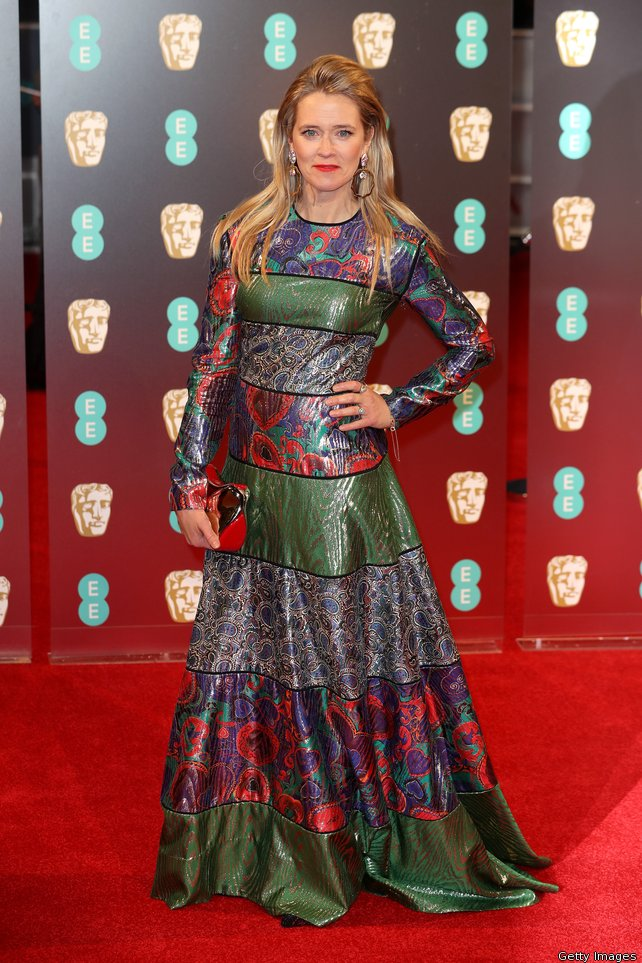 Edith Bowman in a patterned gown