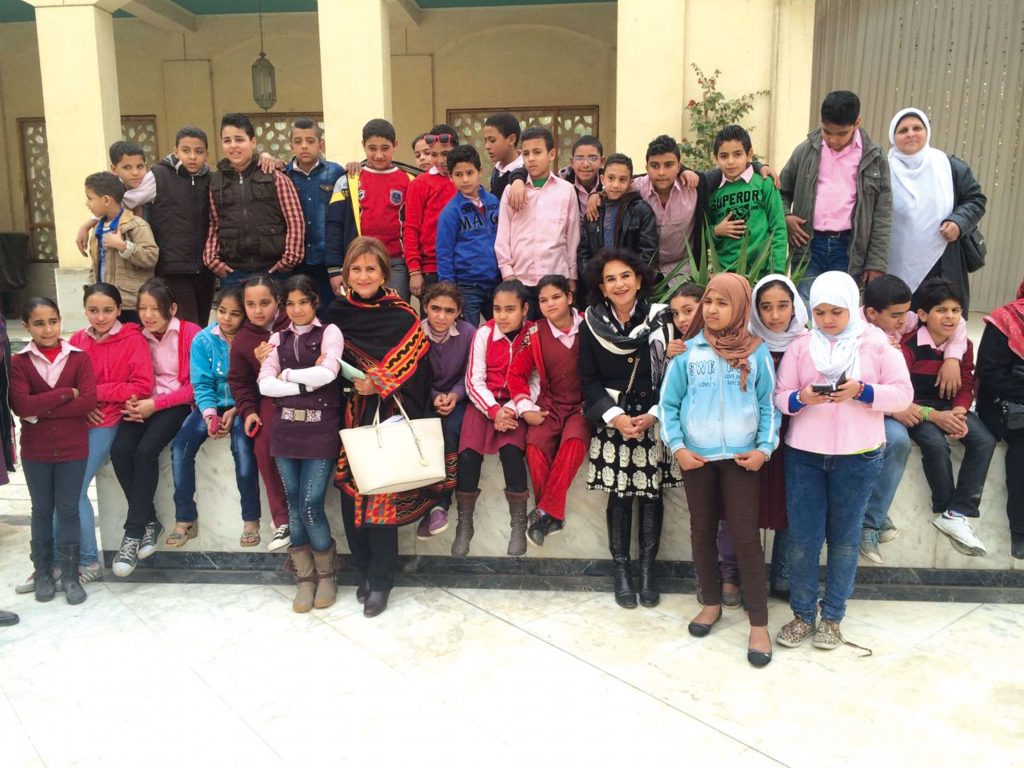 With public school children in front of the Cairo Opera House