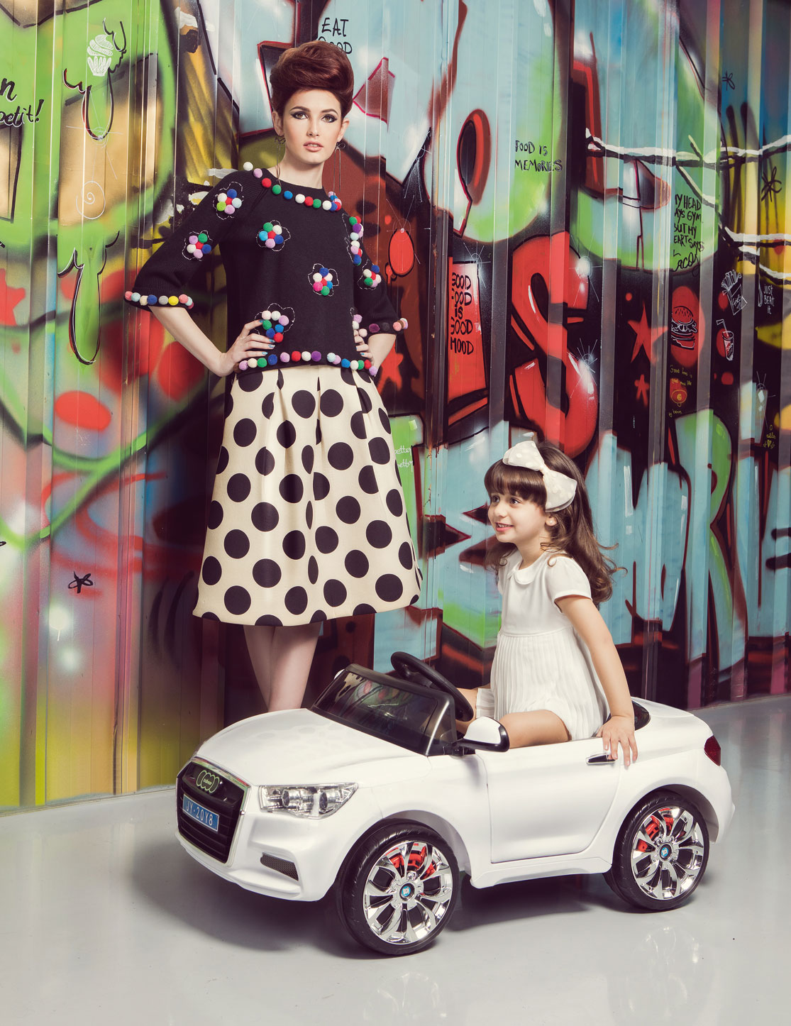 Skirt by Essentiel Antwerp and top by Amuse, available at Maison 69 Earrings available at Maison 69 White car available at Hedeya