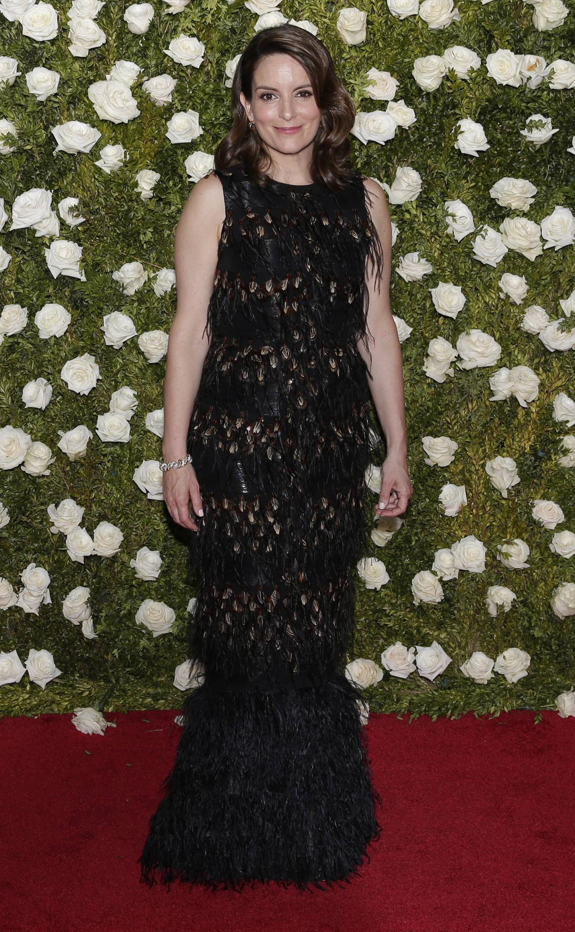 Tina Fey arrives on the red carpet at the 71st Annual Tony Awards at Radio City Music Hall on June 1